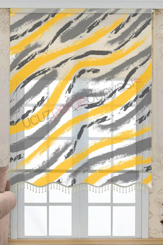 Sarı - Gri Fırça Çiftli Mekanizmalı Stor Perde