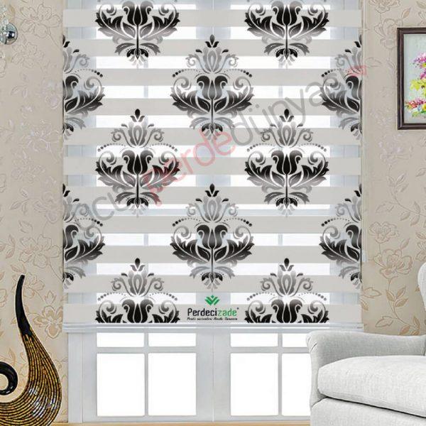 Siyah Renkli Damask Desenli Stor Zebra Perde