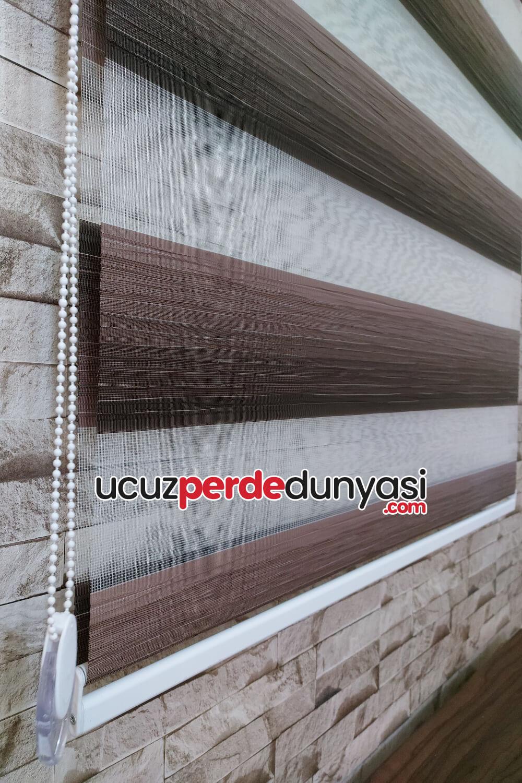 Tan Kahverengi Kırçıllı Bambu Zebra Perde