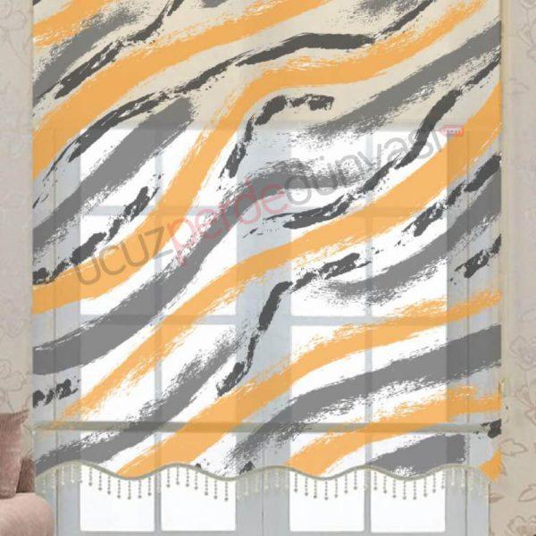 Turuncu - Gri Fırça Çiftli Mekanizmalı Stor Perde