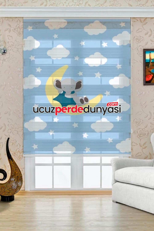 Aydaki Fil Baskılı Çocuk Odası Zebra Perde