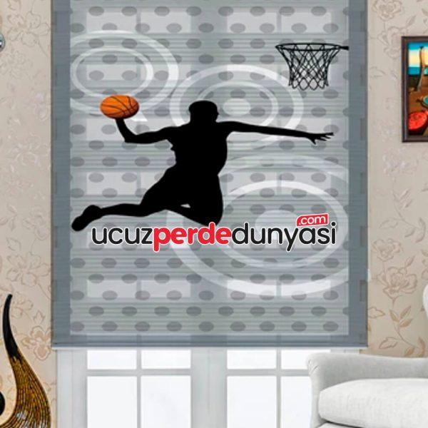 Basketçi Baskılı Çocuk Odası Zebra Perde