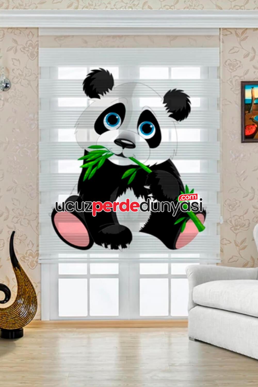 Bebek Panda Baskılı Çocuk Odası Zebra Perde