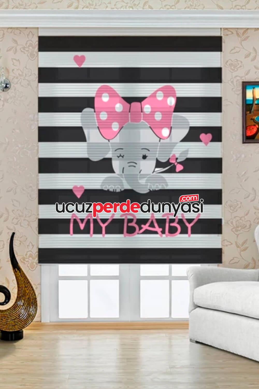 Benim Bebeğim Baskılı Çocuk Odası Zebra Perde