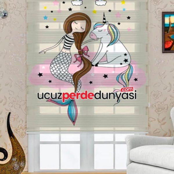 Deniz Kızı ve Unicorn Baskılı Çocuk Odası Zebra Perde
