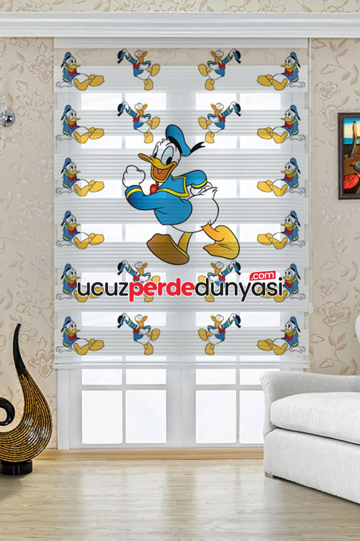 Duffy Duck Baskılı Çocuk Odası Zebra Perde