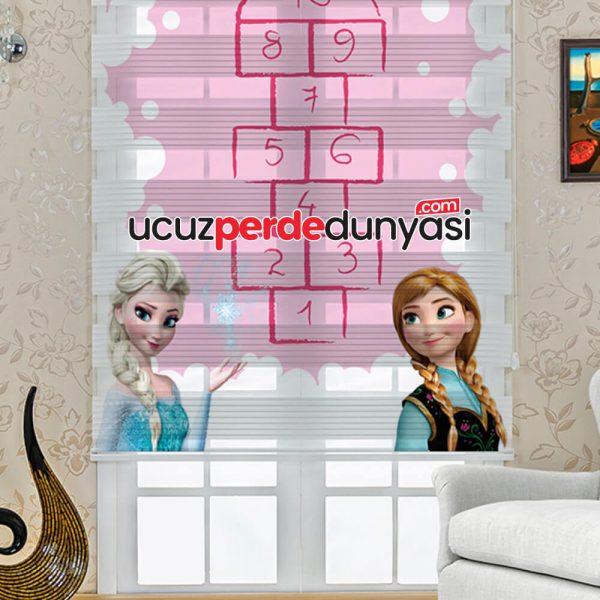 Elsa Frozen Sek Sek Baskılı Çocuk Odası Zebra Perde