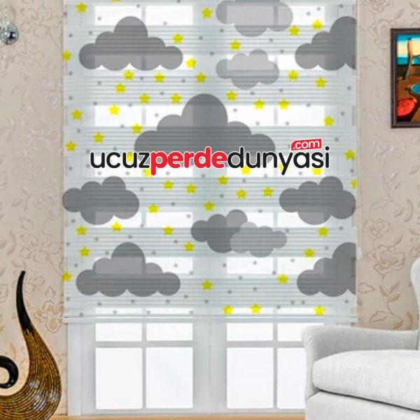 Gri Bulutlar Baskılı Çocuk Odası Zebra Perde