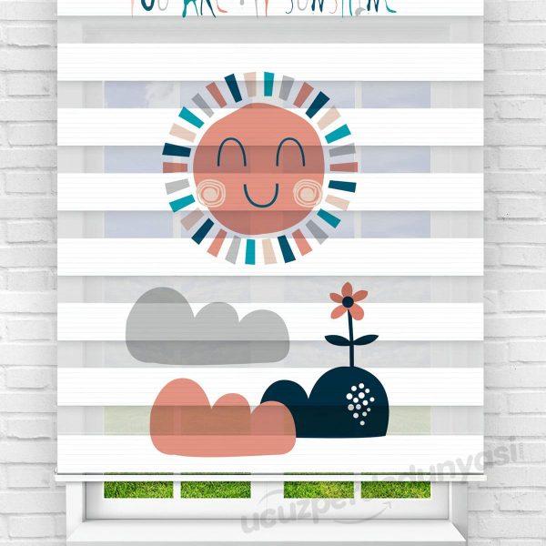 Mutlu Güneş Baskılı Çocuk Odası Zebra Perde
