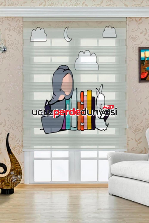 Kitap Kurtları Baskılı Çocuk Odası Zebra Perde