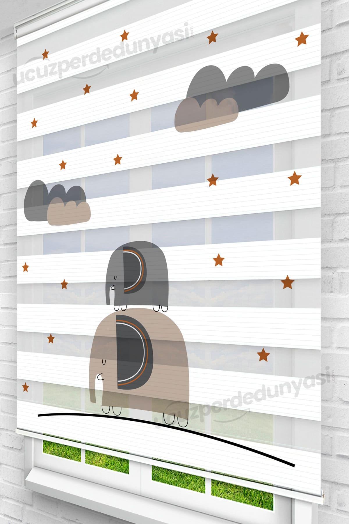 Merdiven Filler Baskılı Çocuk Odası Zebra Perde