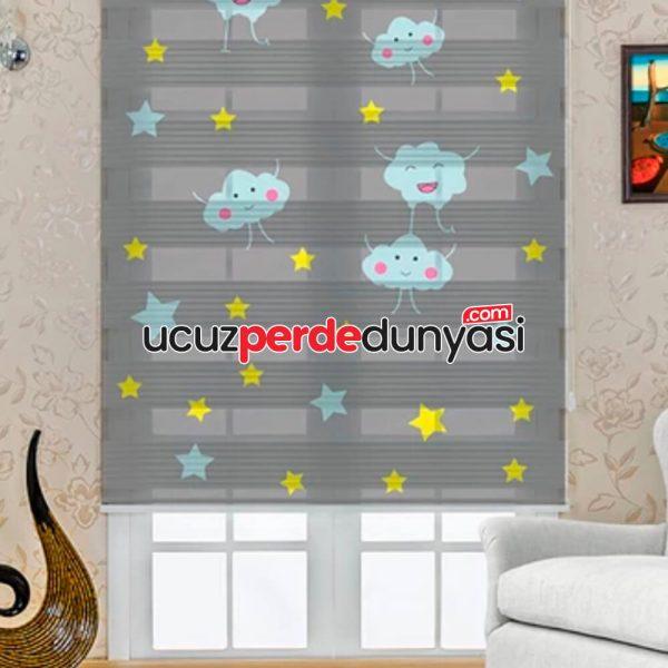 Mutlu Bulutlar Baskılı Çocuk Odası Zebra Perde