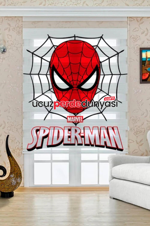 Marvel Örümcek Adam Baskılı Çocuk Odası Zebra Perde