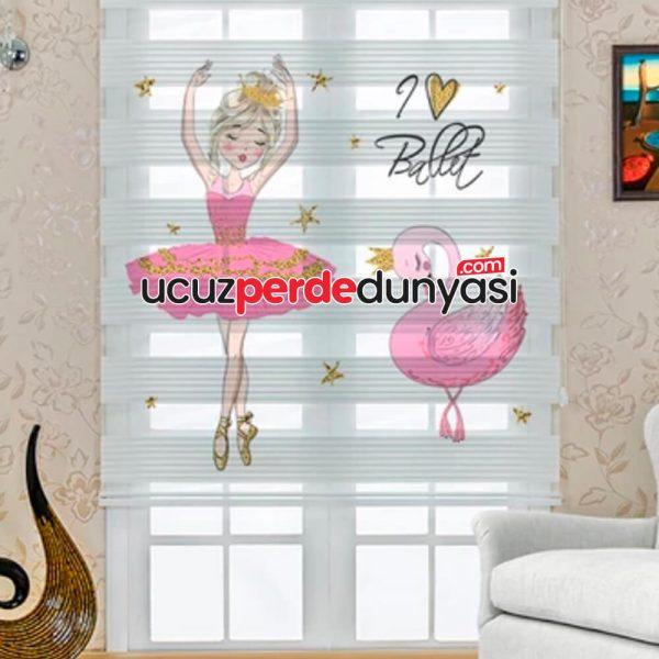 Pembe Balet ve Kuğu Baskılı Çocuk Odası Zebra Perde
