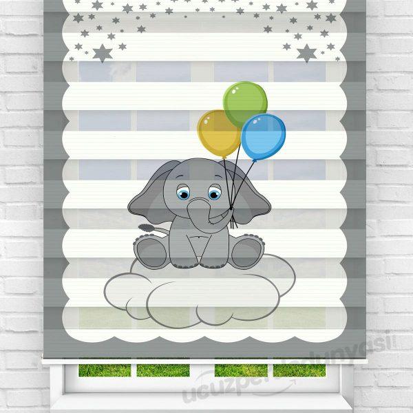 Balon ve Bebek Fil Baskılı Çocuk Odası Zebra Perde