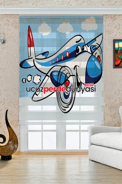 Sevimli Uçak Baskılı Çocuk Odası Zebra Perde