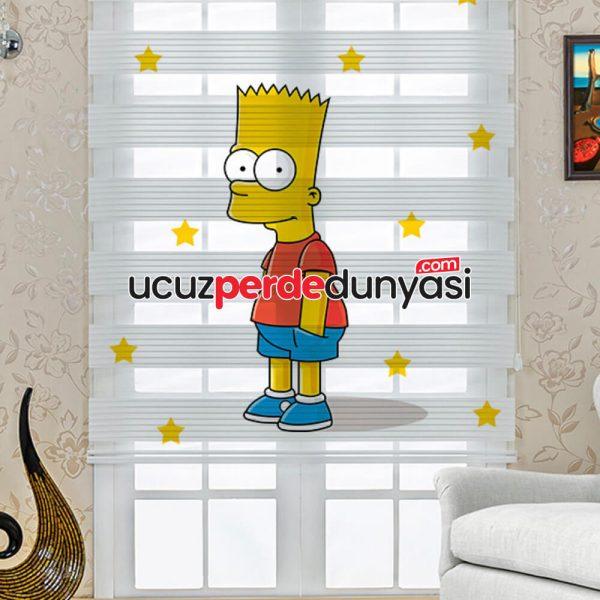 Simpson Baskılı Çocuk Odası Zebra Perde