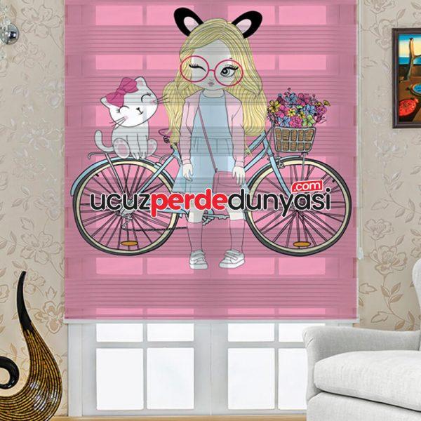 Süslü Kız Baskılı Çocuk Odası Zebra Perde