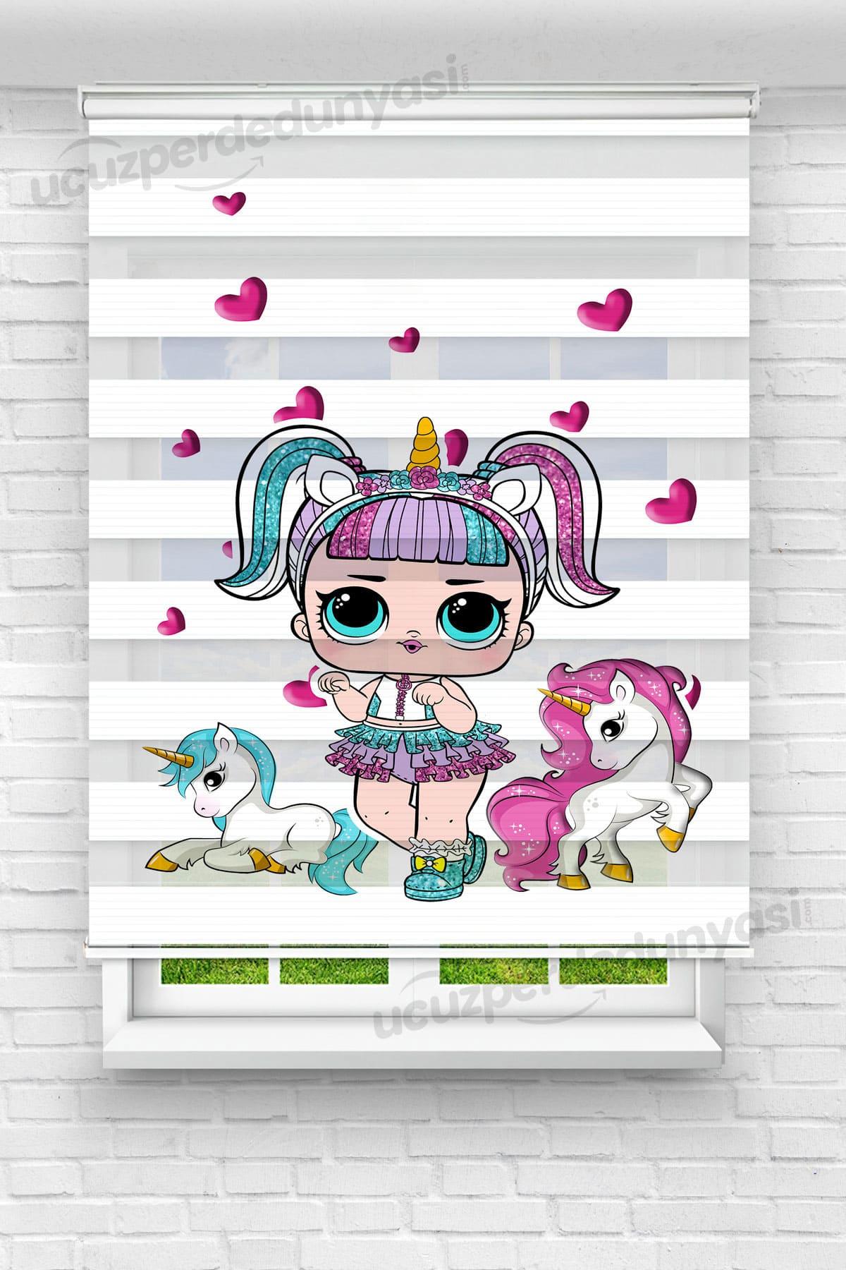 Unicorn Bebek Baskılı Çocuk Odası Zebra Perde