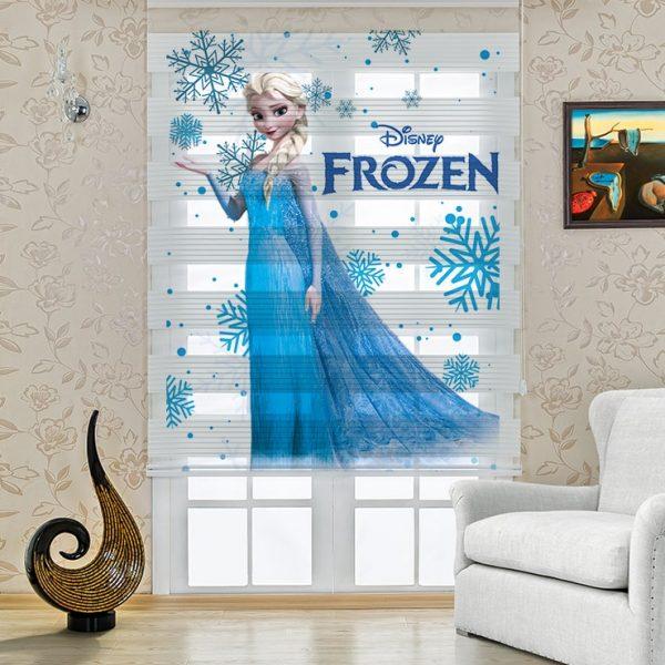 Elsa Frozen Baskılı Çocuk Stor Zebra Perde