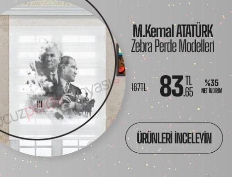 Mustafa Kemal Atatürk Baskılı Zebra Perde Modelleri