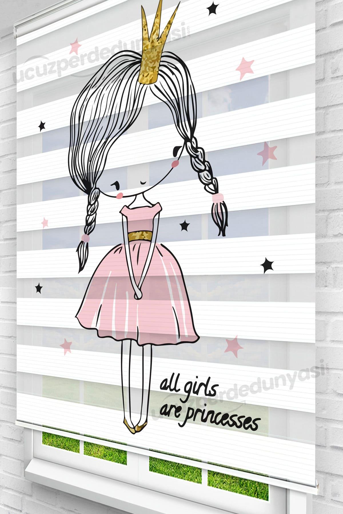 Utangaç Prenses Baskılı Çocuk Odası Zebra Perde