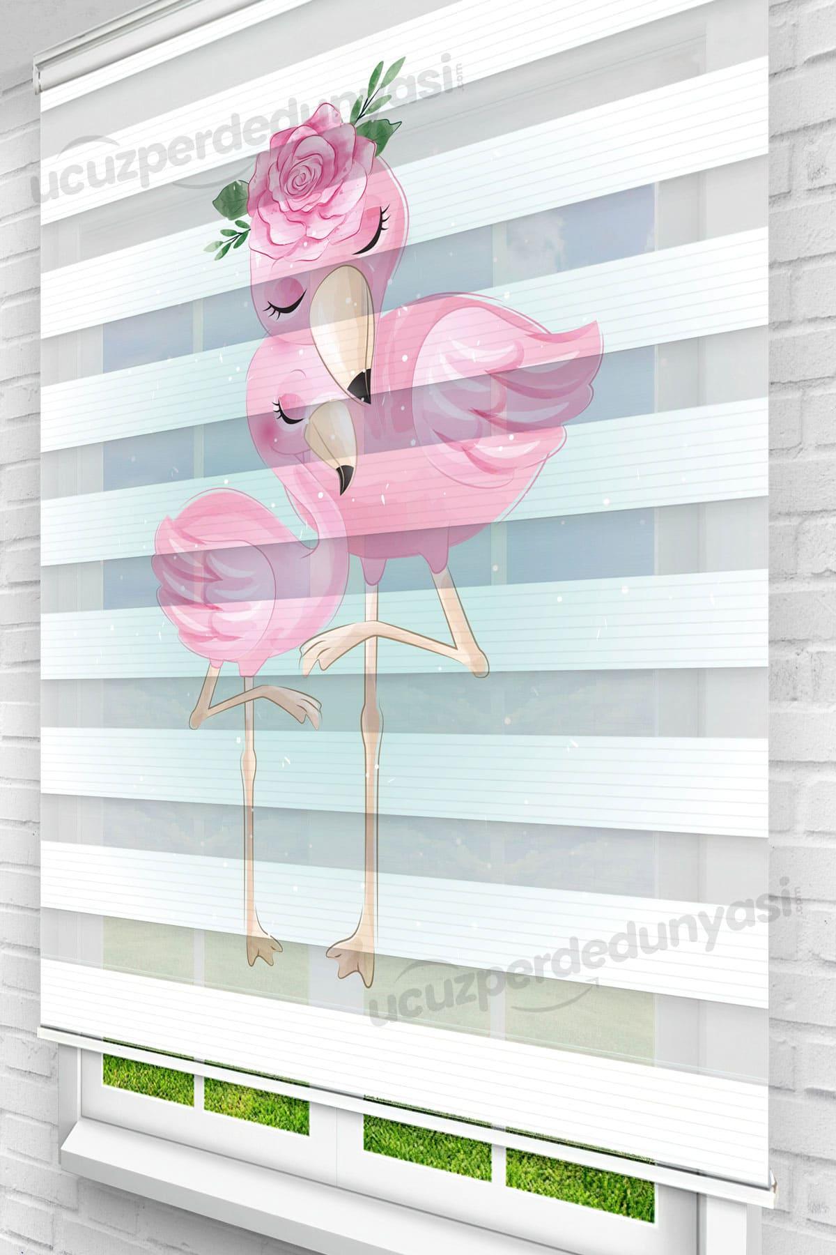 Aile Flamingolar Çocuk Odası Stor Zebra Perde