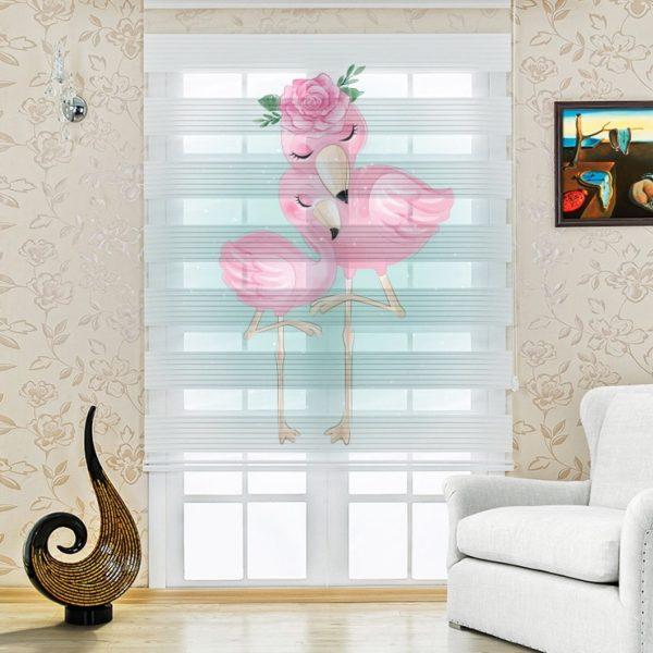 Aile Flamingolar Genç - Çocuk Odası Zebra Perde
