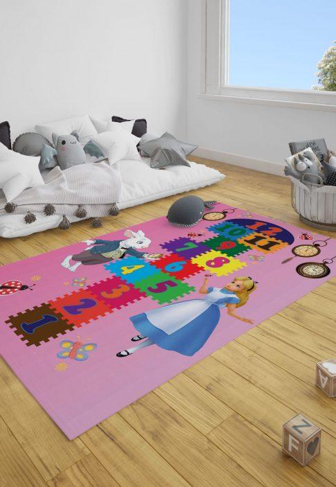 Alice Harikalar Diyarı Seksek Çocuk Odası Halı