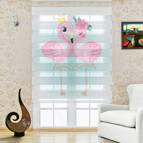 Aşık Flamingolar Baskılı Genç - Çocuk Odası Zebra Perde