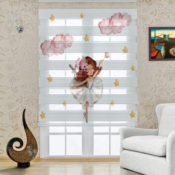 Beyaz Balet Kız Baskılı Çocuk Odası Zebra Perde | UPD