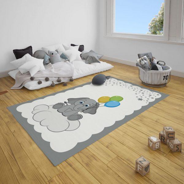 Balonlu Fil Bebek Odası Halı