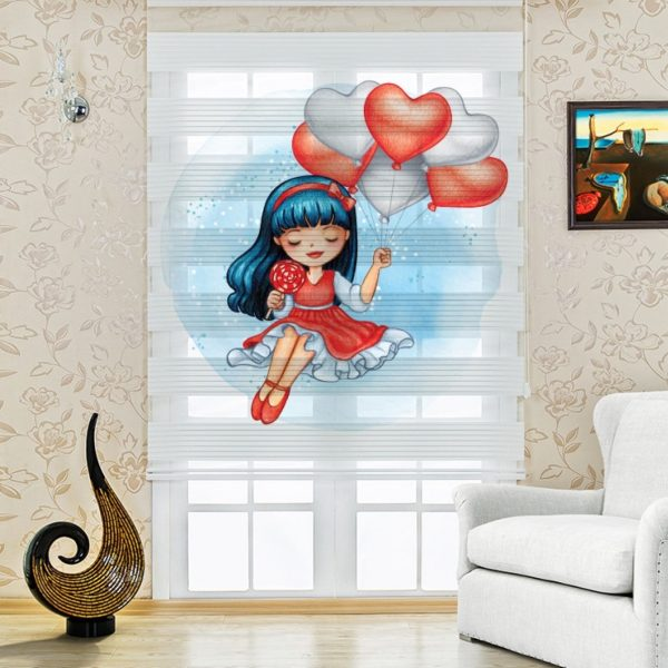 Baloncu Kız Baskılı Çocuk Odası Zebra Perde
