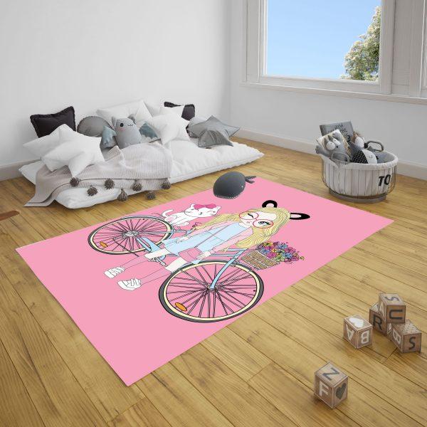 Bisikletli Kız ve Kedi Çocuk Odası Halı