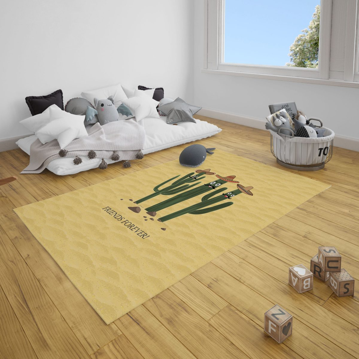 Dost Kaktüsler Çocuk Odası Halı