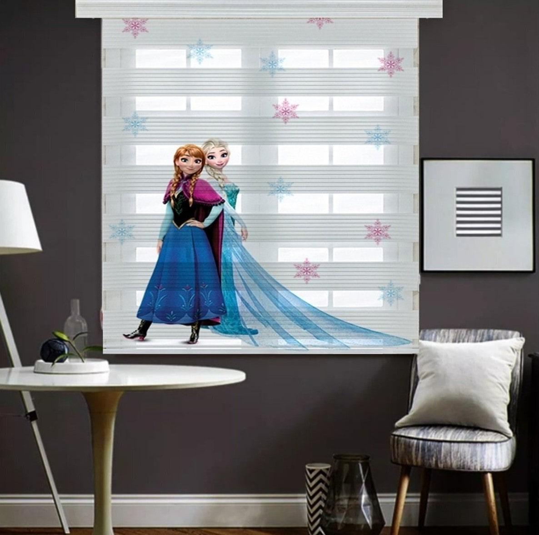 Elsa Anna Frozen Dijital Baskılı Çocuk Odası Zebra Perde