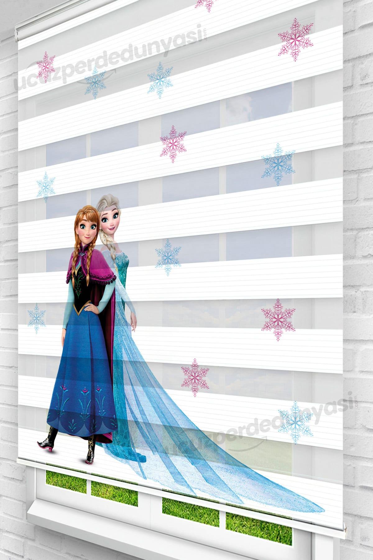 Elsa Frozen ve Anna Baskılı Bebek - Çocuk Odası Zebra Perde