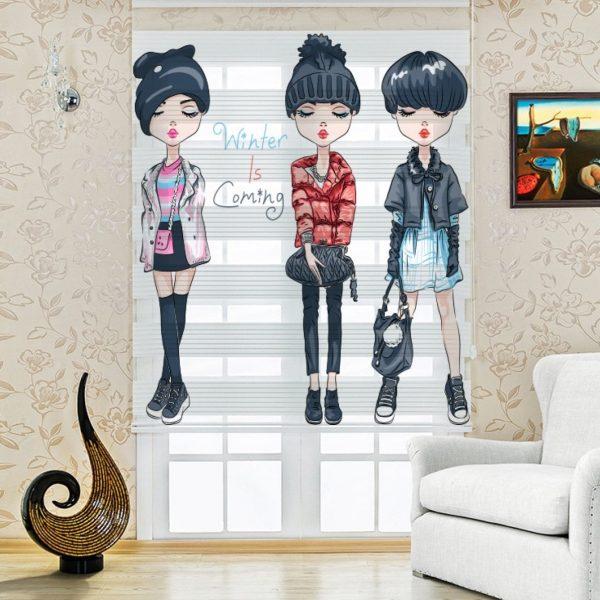 Gotik Modacı Kızlar Çocuk Odası Zebra Perde
