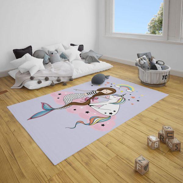 Lila Deniz Kızı ve Unicorn Bebek Odası Halı