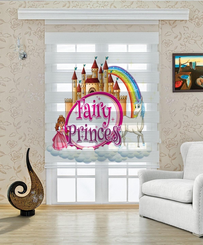 Harikalar Diyarı Prenses Baskılı Bebek ve Çocuk Odası Zebra Perde