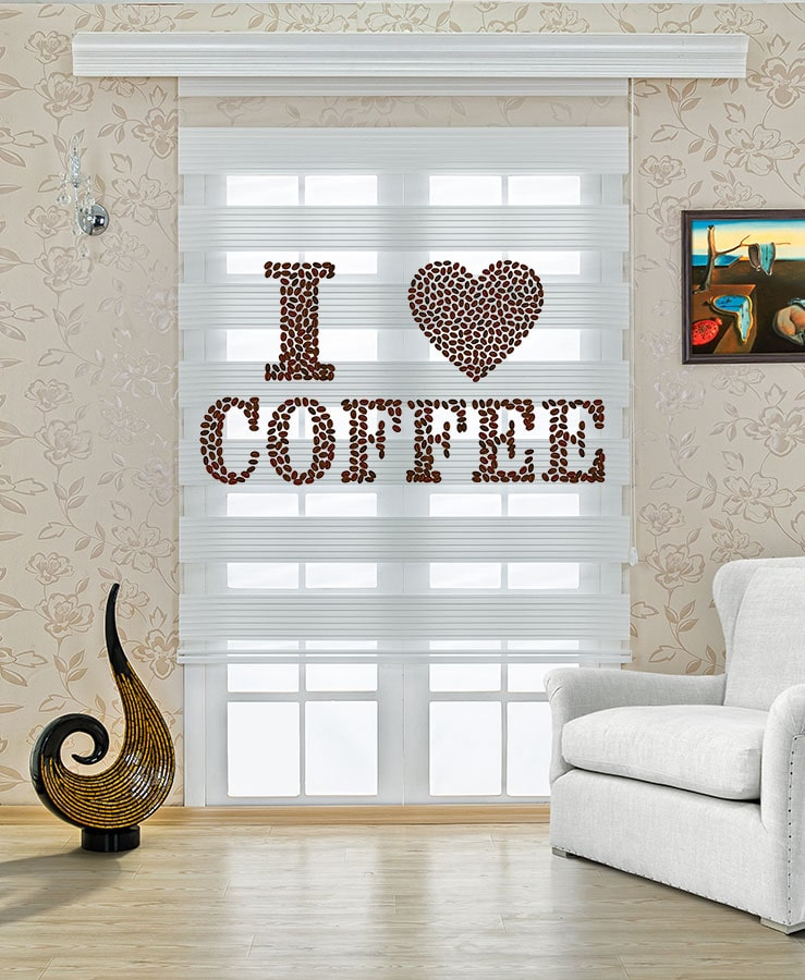 I Love You Coffee Baskılı Mutfak Zebra Perde