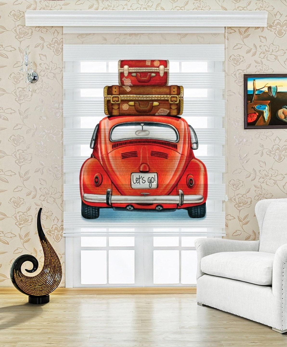Kırmızı Woswos Araba Baskılı Çocuk Odası Zebra Perde