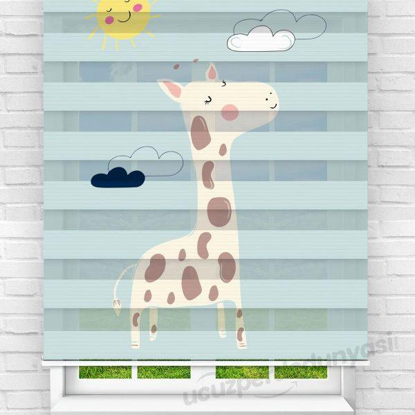 Züraafa Baskılı Çocuk Odası Zebra Perde