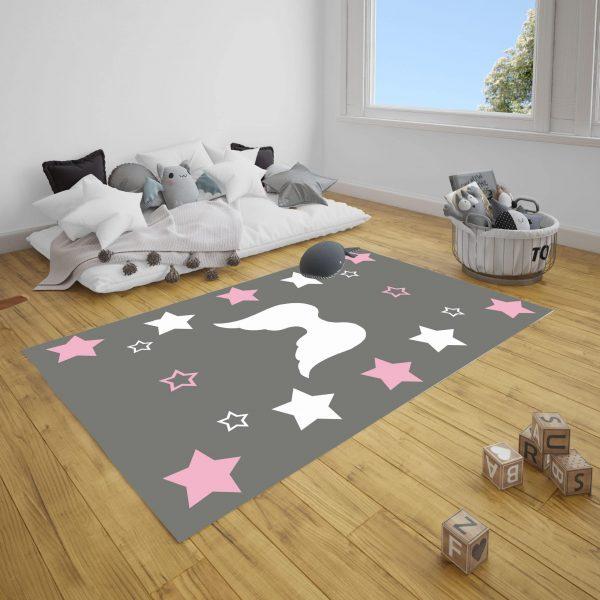 Kanat ve Yıldızlar Bebek ve Çocuk Odası Halı