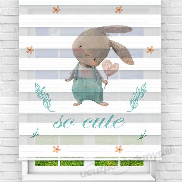 Meraklı Tavşan Baskılı Çocuk Odası Zebra Perde