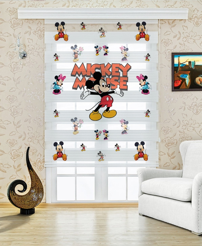 Mickey Mouse Baskılı Çocuk Odası Zebra Perde