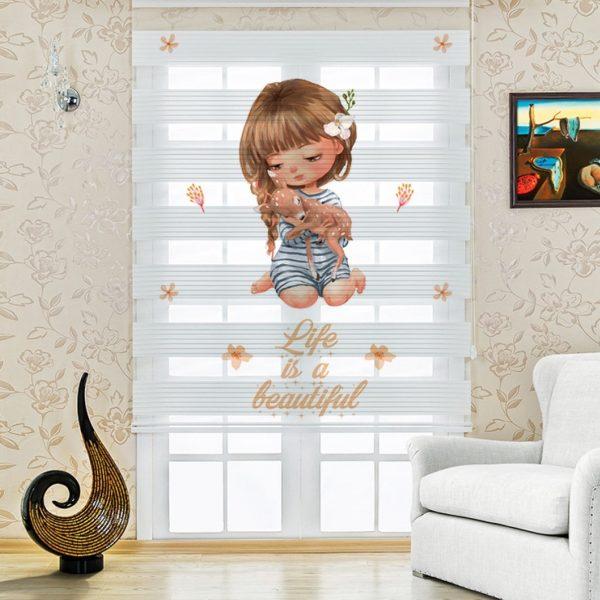 Minik Kız Baskılı Bebek ve Çocuk Odası Zebra Perde