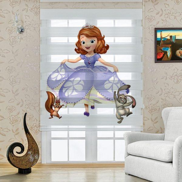 Prenses ve Hayvanları Baskılı Çocuk Odası Zebra Perde