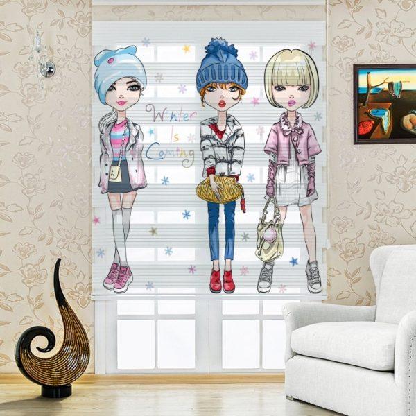 Modacı Kızlar Baskılı Çocuk Odası Zebra Perde | UPD