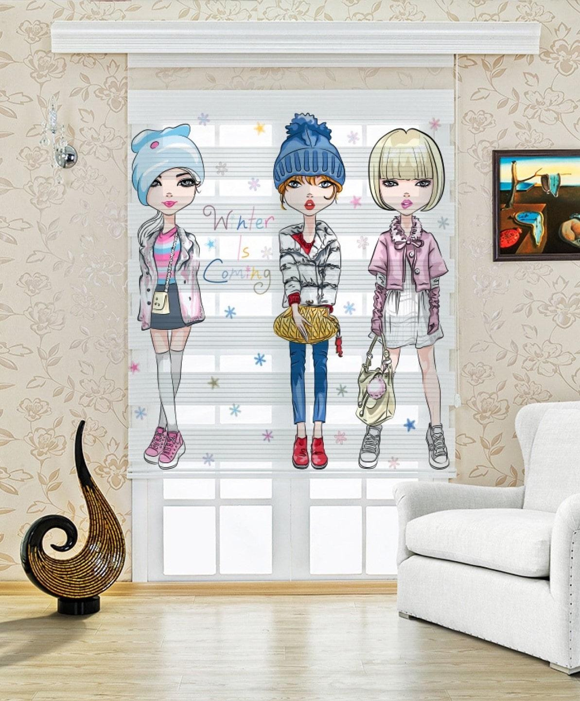 Modacı Kızlar Baskılı Çocuk Odası Zebra Perde   UPD